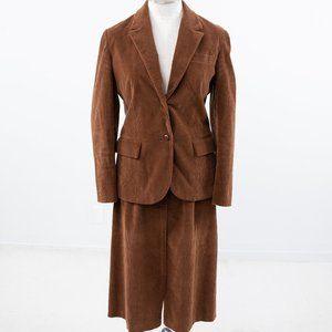 Vintage 70s M/L Corduroy Skirt Suit Brown
